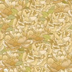 FototapetaJapanese pattern vector. Oriental background. Gold flower pattern. Floral elements.