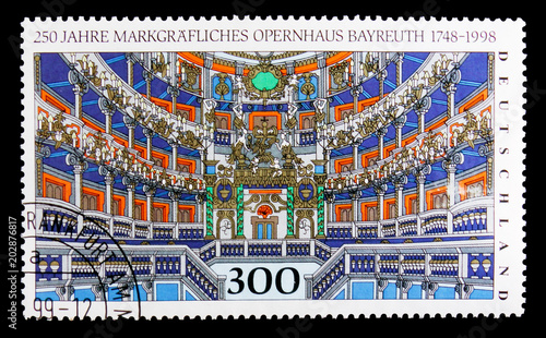 Fotografia  MOSCOW, RUSSIA - OCTOBER 3, 2017: A stamp printed in Germany Federal Republic shows Opera Bayreuth, 250th Anniv