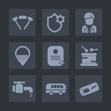 Premium Set Of Fill Icons. Such As Instrument, Music, Fly, Drum, Bathroom, Tap, Sport, Skydiver, Business, Air, Settings, Security, Location, Sky, Water, Travel, Transportation, Skydiving, Computer