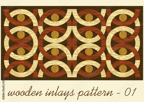 Valokuva  Wood art inlay tile, geometric ornament from dark and light wood in antiquarian