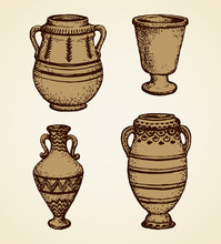 Ancient Cup. Vector Drawing