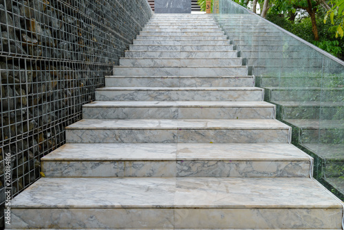 Spoed Foto op Canvas Trappen Empty marble stair - Outdoor modern architecture