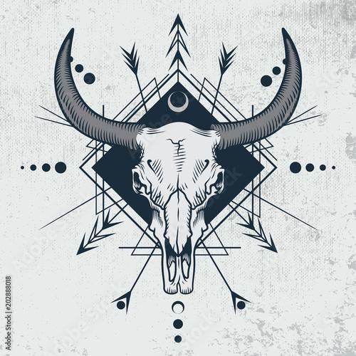 Bull Skull In Engraving Graphic Ink Technique Vector Illustration