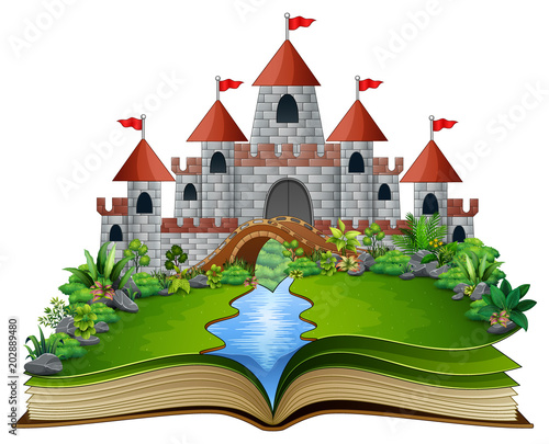 Papiers peints Chateau Story book with a castle and river in the green park