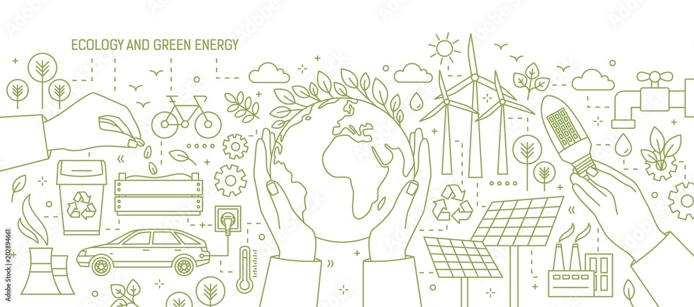 Fototapety, obrazy: Monochrome banner with hands holding Earth and light bulb surrounded by wind and solar power stations, electric car, plants. Ecology and renewable energy. Vector illustration in line art style.