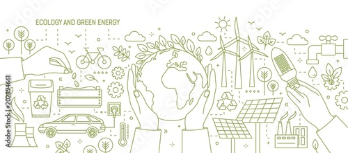 Photo Monochrome banner with hands holding Earth and light bulb surrounded by wind and solar power stations, electric car, plants