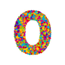 Vector Colorful Paint Splashes Font, Numeral 0