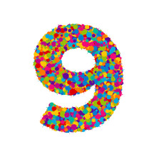 Vector Colorful Paint Splashes Font, Numeral 9