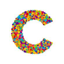 Vector Colorful Paint Splashes Font, Letter C