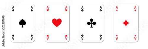 Photo  Vier Ass Karten - Spiel - Kartenspiel - Kreuz Pik Herz Karo