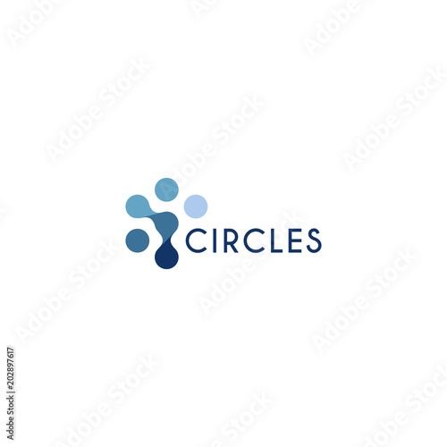 Fotografia  Abstract innovation symbol, unusual stylized human from circles
