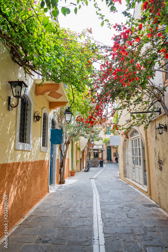 Foto op Plexiglas Landschappen Pedestrian street in the old town of Rethymno in Crete, Greece