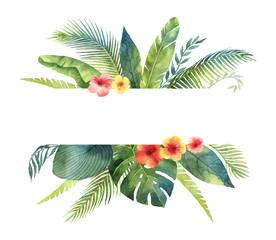Akvarel vektor banner tropsko lišće i grane izolirane na bijeloj pozadini.