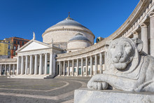 Stone Lion At The Basilica Di San Francesco Di Paola In Piazza Del Plebiscito, Naples, Campania, Italy.