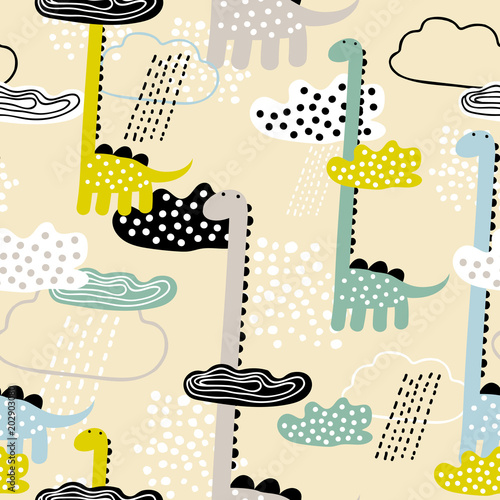 Cotton fabric Childish seamless pattern with dino, clouds and rain. Scandinavian style. Summer childish background. Perfect for fabric, textile. Vector background. Pastel colors