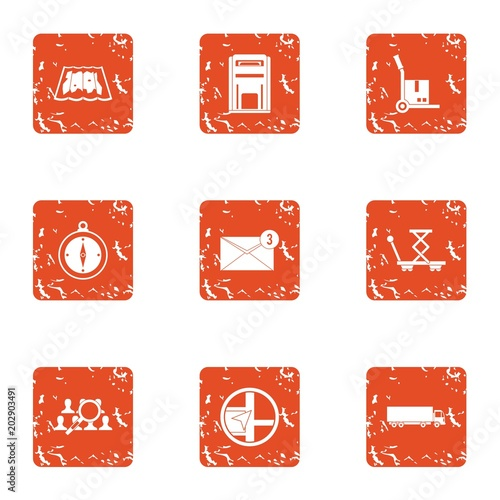 Document delivery icons set Poster Mural XXL