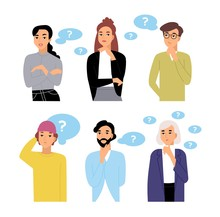 Bundle Of Thoughtful Male And Female Cartoon Characters And Thought Bubbles With Question Marks. Collection Of Portraits Of Men And Women Thinking Isolated On White Background. Vector Illustration.