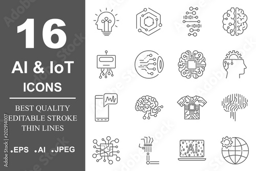 Simple set of artificial intelligence related line icons contains such icons as droid, eye, chip, brain Wallpaper Mural