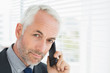 Closeup of a serious mature businessman using cellphone