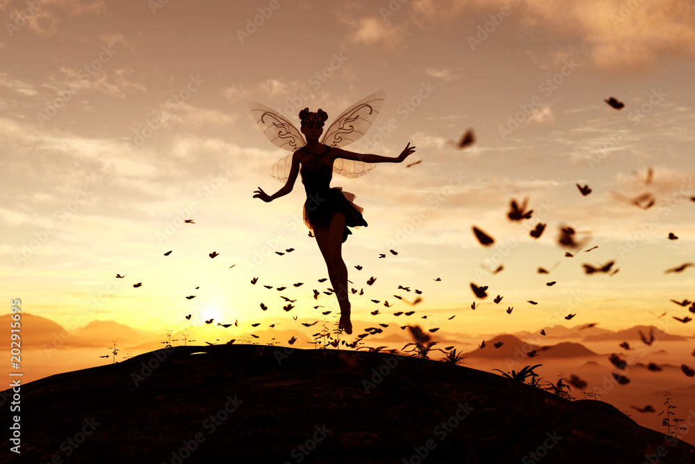 Fototapeta 3d rendering of a fairy on a tree trunk on the sky of a sunset or sunrise surrounded by flock butterflies