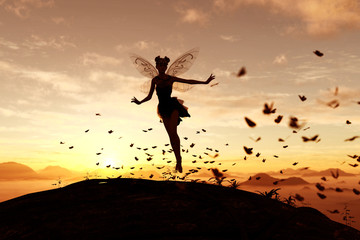 3d rendering of a fairy on a tree trunk on the sky of a sunset or sunrise surrounded by flock butterflies