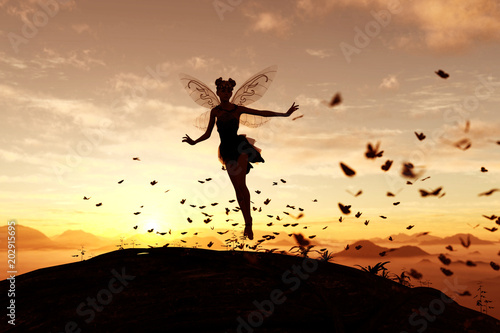 Photo  3d rendering of a fairy on a tree trunk on the sky of a sunset or sunrise surrou