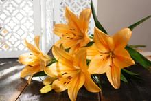 Sensual Bouquet Of Beautiful Orange Lilies Flowers Close Up