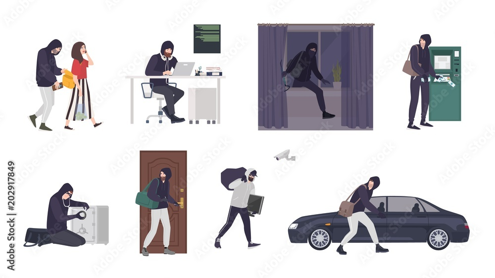 Fototapeta Collection of scenes with male thief or burglar wearing mask and black clothes stealing things from woman s handbag, ATM, safe box, car, apartment or house. Flat cartoon colorful vector illustration.