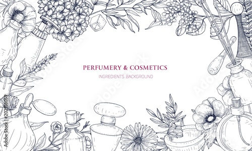 Photo  Horizontal backdrop with frame made of perfume and fragrance ingredients in flasks and blooming flowers hand drawn with contour lines on white background