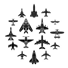 Airplane Top View Icons Set. S...