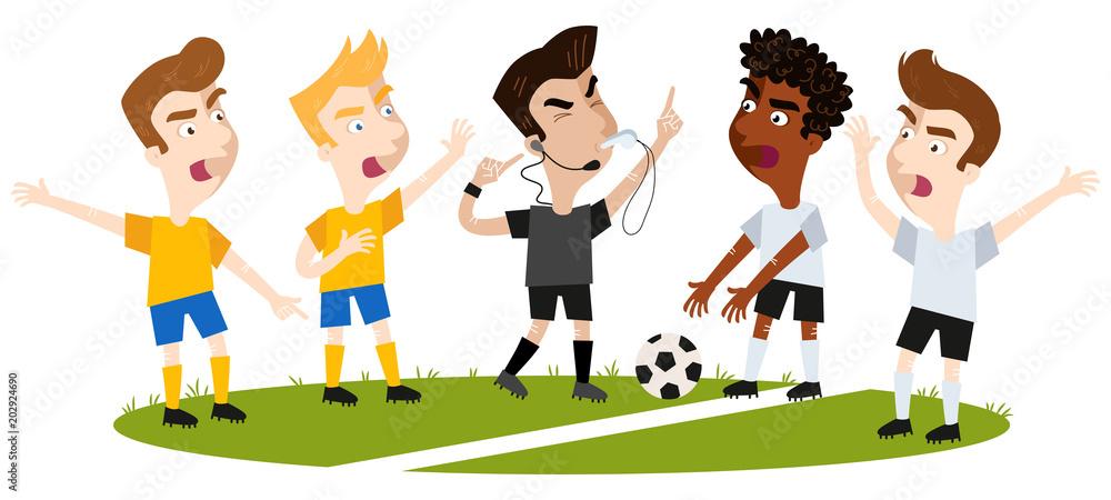 Cartoon Fussballspieler Verschiedener Mannschaften Auf