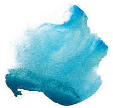 Watercolor Stain Blue. On White Background Isolated