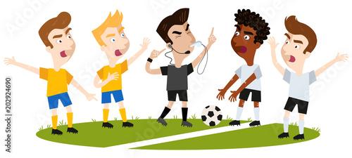 Cartoon Fußballspieler verschiedener Mannschaften auf Fußballfeld streiten und gestikulieren, Auseinandersetzung, Schiedsrichter pfeift und zeigt auf sein Headset
