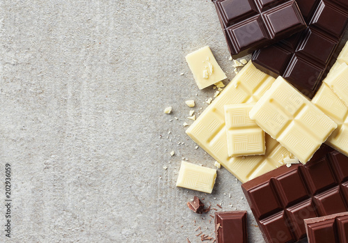 Dark, white and milk chocolate pieces