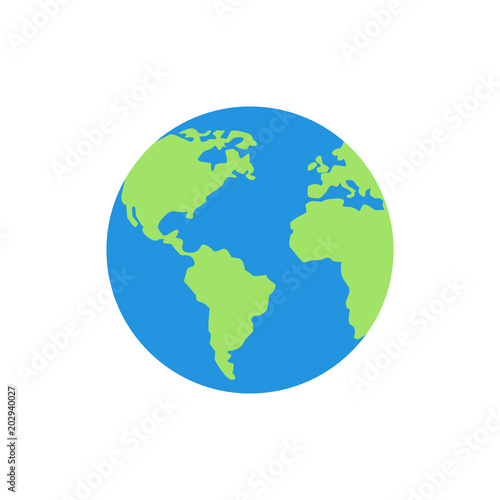 Earth globes isolated on white background. Flat planet Earth icon. Vector illustration. Wall mural