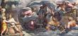canvas print picture - PARMA, ITALY - APRIL 16, 2018: The fresco  Peter, walking on water toward Jesus in Duomo by Lattanzio Gambara (1567 - 1573).