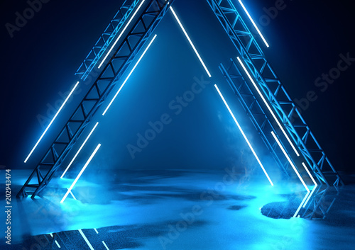 Futuristic glowing neon stage in blue Wallpaper Mural