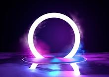 A Large Glowing Neon Loop Sirc...