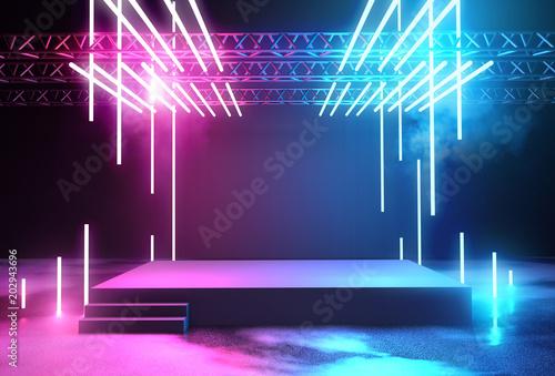 Neon Glowing Stage and Lighting Fototapeta