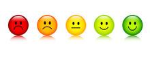 Fünf Smileys Bewertung Gesich.