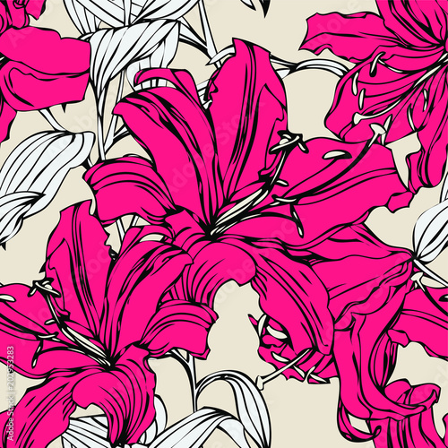 Foto op Canvas Abstract bloemen Seamless pattern with flowers lily