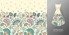 Seamless Vertical Fantasy Flowers Border Pattern. Hand Draw Floral Background On Dress Mockup. Vector. Traditional Eastern Pattern For Textiles, Wallpapers, Decor Etc. Pastel Blue Pink Beige On White