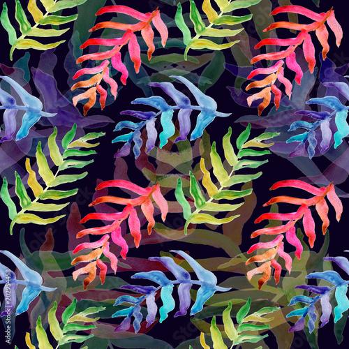 Foto op Aluminium Paradijsvogel bloem Summer tropical pattern, background with palm leaves.