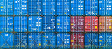 Stack Of Freight Container In Rows, Container In Import Export Business And Logistic And Transportation.