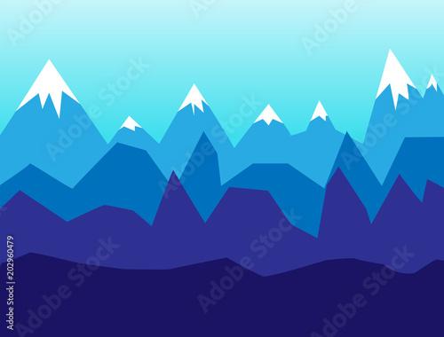 Fotobehang Lichtblauw Snow mountains, Winter landscape in flat design vector illustration background.