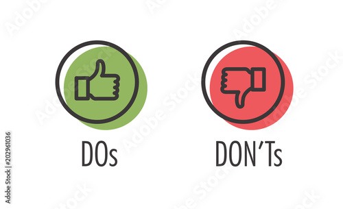 Fotografie, Tablou  Do and Don't or Like and Unlike Icons w Positive and Negative Symbols