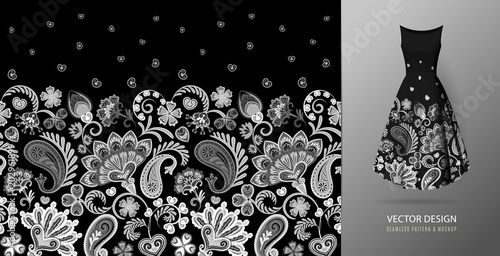 Cotton fabric Hand drawn flower seamless pattern. Colorful seamless pattern with floral pattern in eastern style. Vector pattern for textile. Black and white