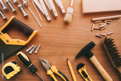 Papiers peints Pays d Afrique Top view of handyman housework repairing tools