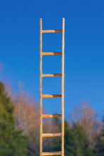 Wooden Ladder Leading To Blue ...