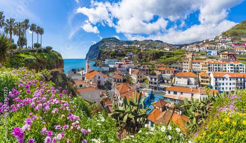 Poster Coast Cityscape panorama of Camara de Lobos, Madeira island, Portugal